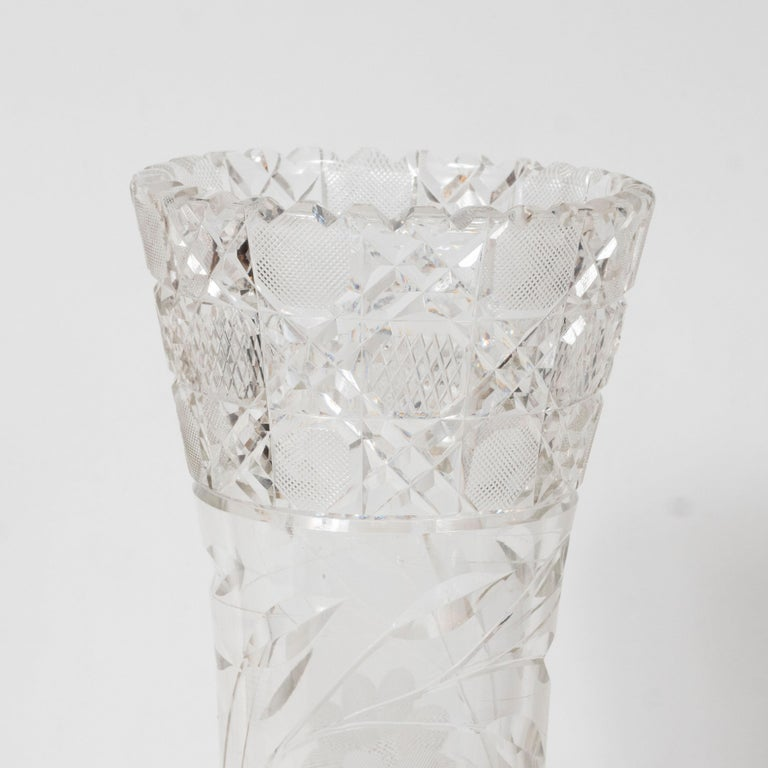 Early 20th Century American Art Deco Brilliant Cut Glass Vase with Etched Floral Designs