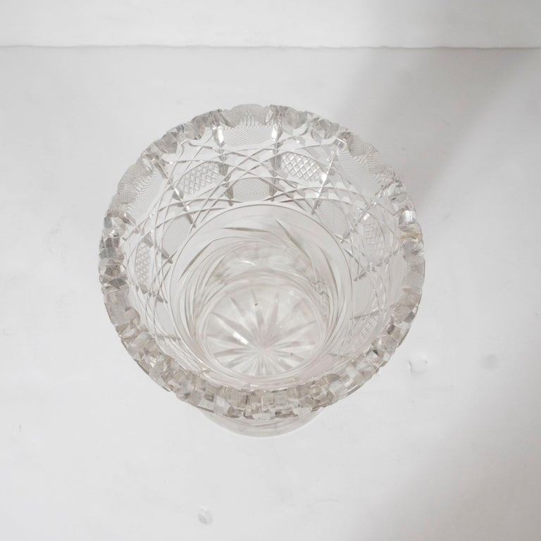 American Art Deco Brilliant Cut Glass Vase with Etched Floral Designs 1
