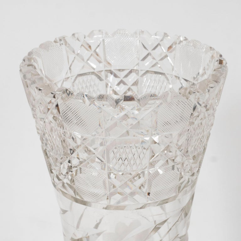 American Art Deco Brilliant Cut Glass Vase with Etched Floral Designs 2