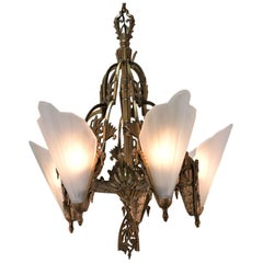 American Art Deco Bronze and Glass Chandelier by Midwest Mfg. Co