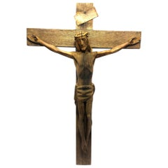 American Art Deco Carved Wood Crucifix Sculpture