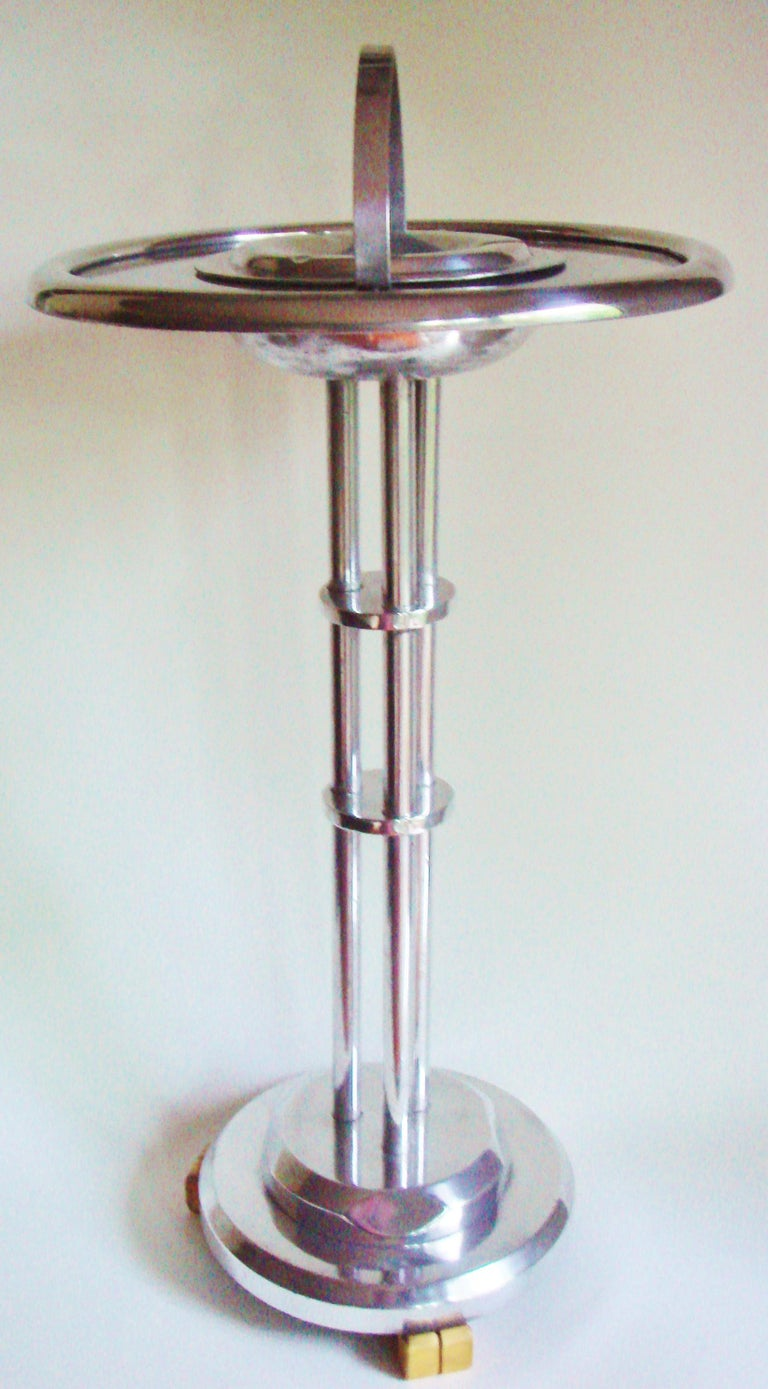American Art Deco Cast Aluminum and Bakelite Floor Standing Ashtray Table For Sale 1