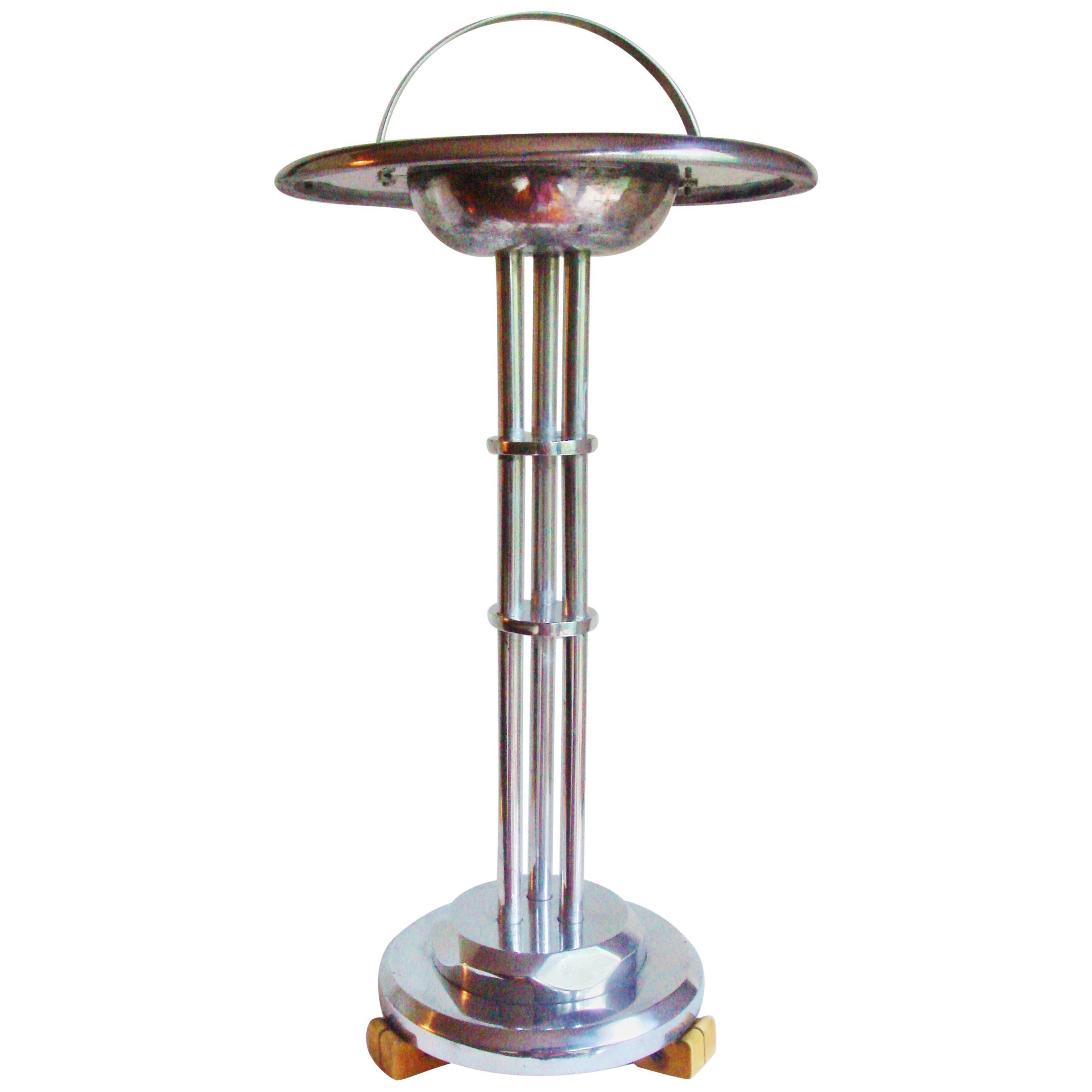 American Art Deco Cast Aluminum and Bakelite Floor Standing Ashtray Table