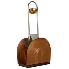 American Art Deco Chrome, Copper & Wood Floor Ashtray/Magazine Rack by Revere