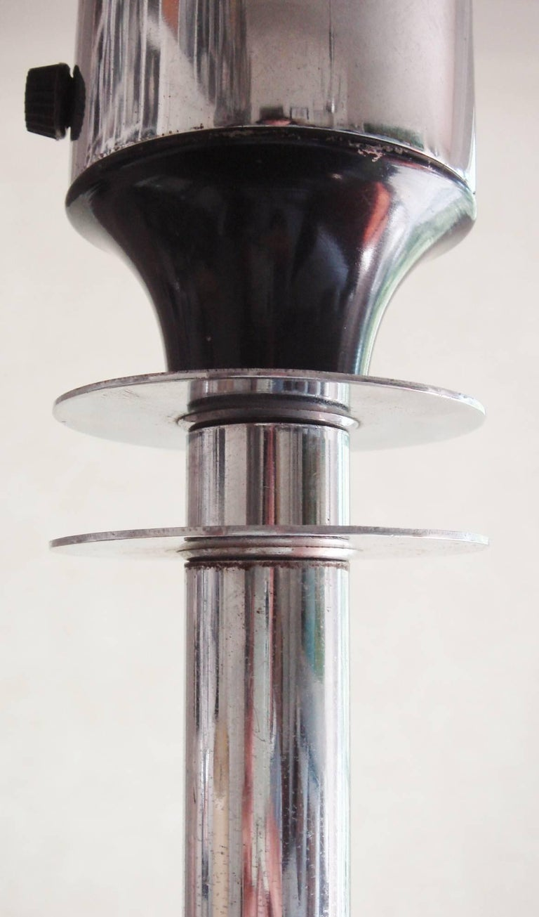 Enameled American Art Deco Chrome, Enamel and Frosted Glass Floor Uplighter/Torchiere For Sale