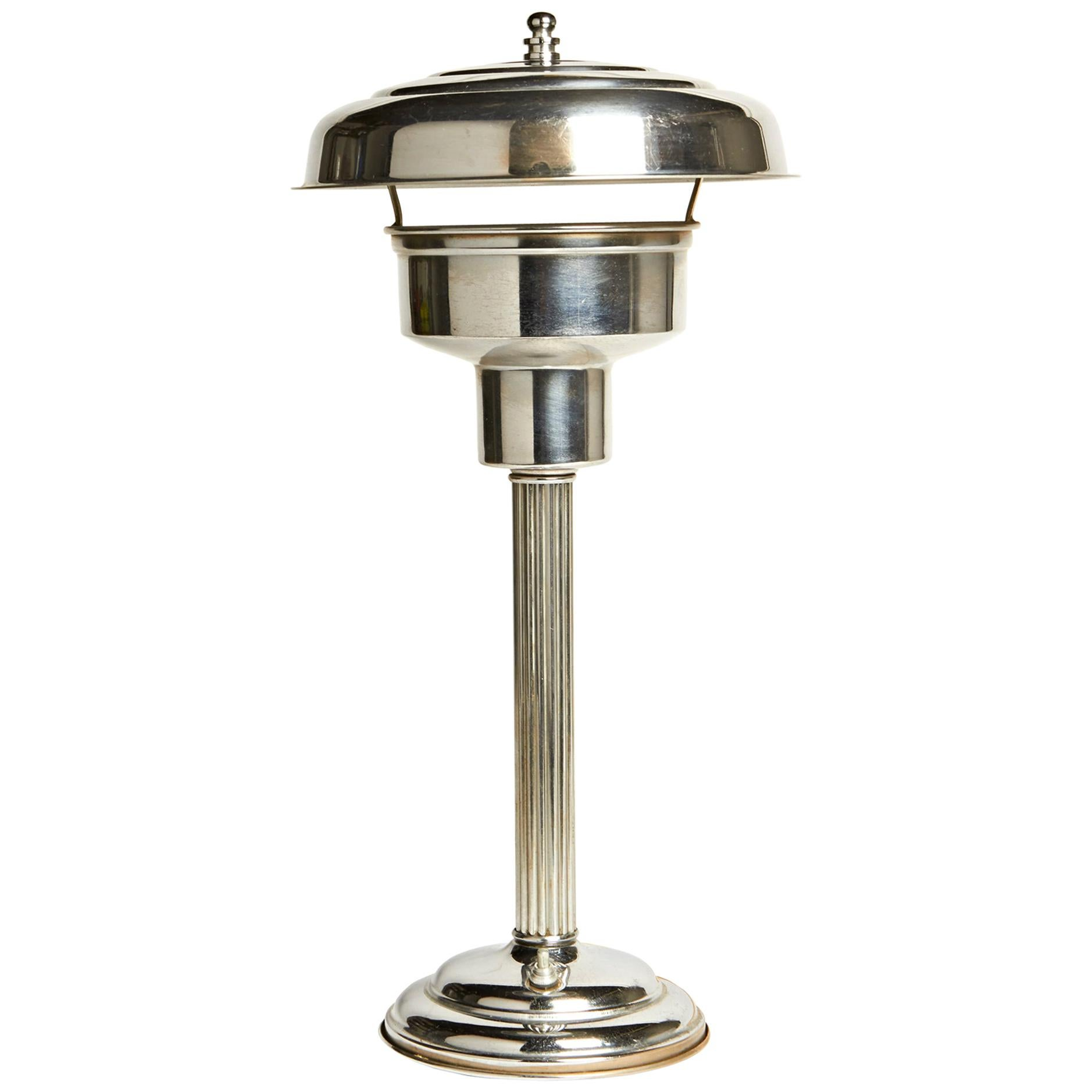 American Art Deco Chrome Tall Table Lamp with Internal Mercury Glass Reflector