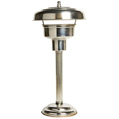 American Art Deco Chrome Tall Table Lamp with Internal Mercury Glass Reflector