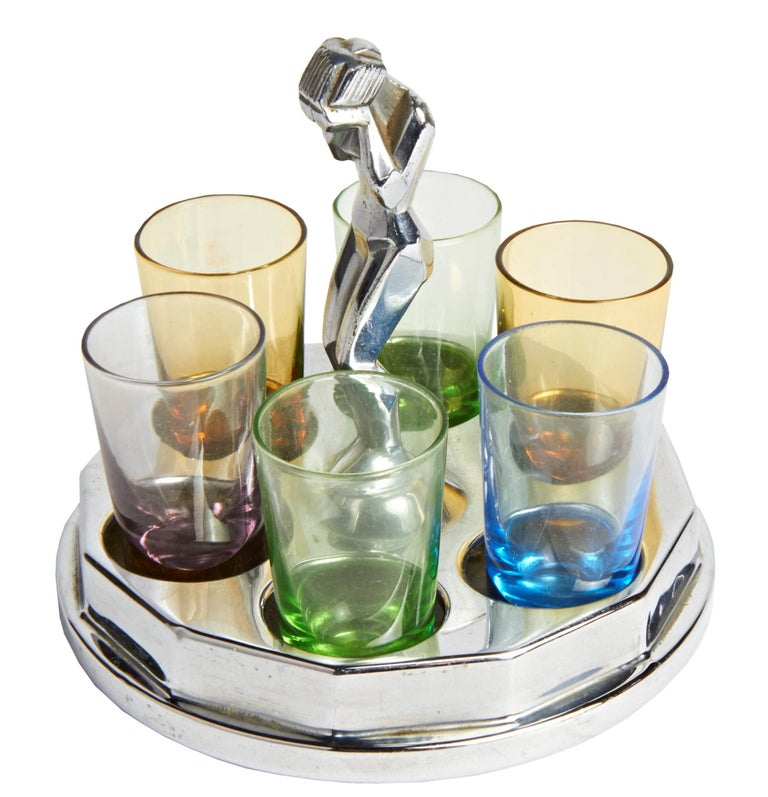 American Art Deco Chrome Weeping Woman Party Ashtray & Liqueur Glass Holder Set In Good Condition For Sale In Port Hope, ON