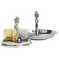 American Art Deco Chrome Weeping Woman Party Ashtray & Liqueur Glass Holder Set