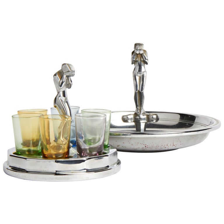 American Art Deco Chrome Weeping Woman Party Ashtray & Liqueur Glass Holder Set For Sale
