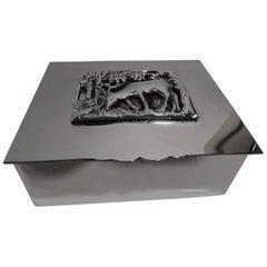 American Art Deco Craftsman Handmade Sterling Silver Gazelle Box