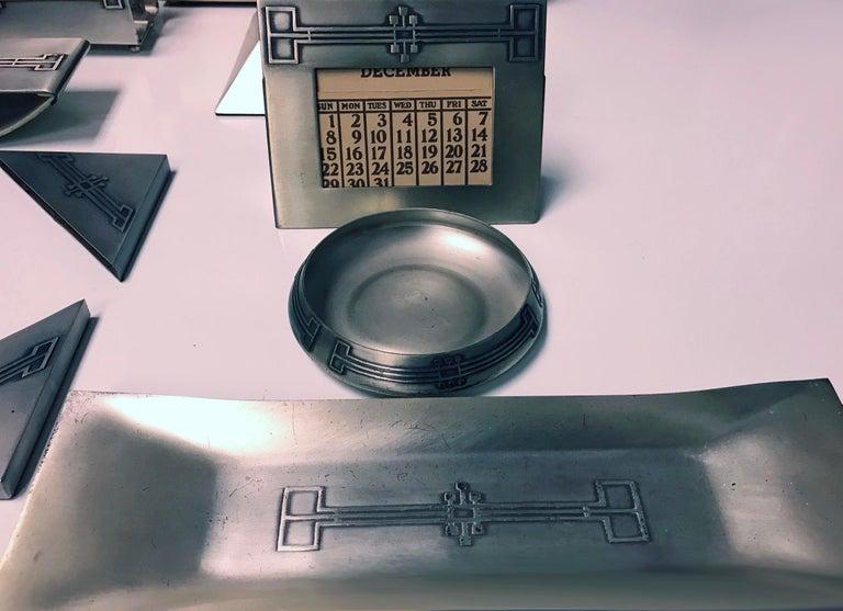 American Art Deco Desk Set Heintz Art Metal Shop For Sale 1