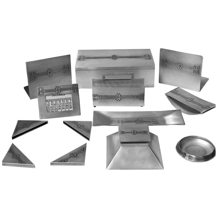 American Art Deco Desk Set Heintz Art Metal Shop For Sale