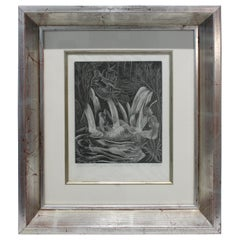 "American Art Deco Etching ""Girls Bathing"" M. E. Groom, 1920s"
