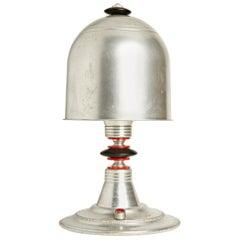 American Art Deco/Folk Art Aluminum, Bakelite and Black Painted Wood Table Lamp