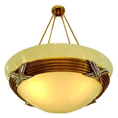 American Art Deco Glass Dome Bowl Chandelier
