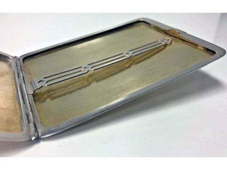 American Art Deco Gold and Sterling Silver Cigarette Case, circa 1930 For Sale 1