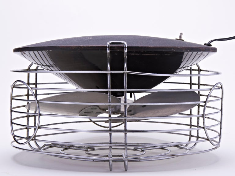 This stunningly designed American Art Deco/Machine Age Command-Air lateral floor fan is sometimes confused with a hassock fan. However this was not designed to sit on or put one's feet on, but created by the Warren Engineering Corporation of Chicago