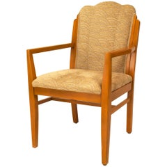American Art Deco Maple Open Armchairs
