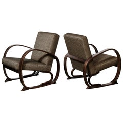 "American Art Deco Open Form Streamlined ""Halabala"" Arm Chairs in Ebonized Walnut"