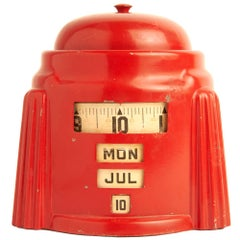 American Art Deco Red Kal-Klock Mechanical Combination Alarm Clock/Calendar