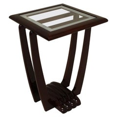 American Art Deco Scalloped-Base End Table in Walnut