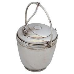 American Art Deco Sheffield Silver Plate Lidded Ice Bucket, USA
