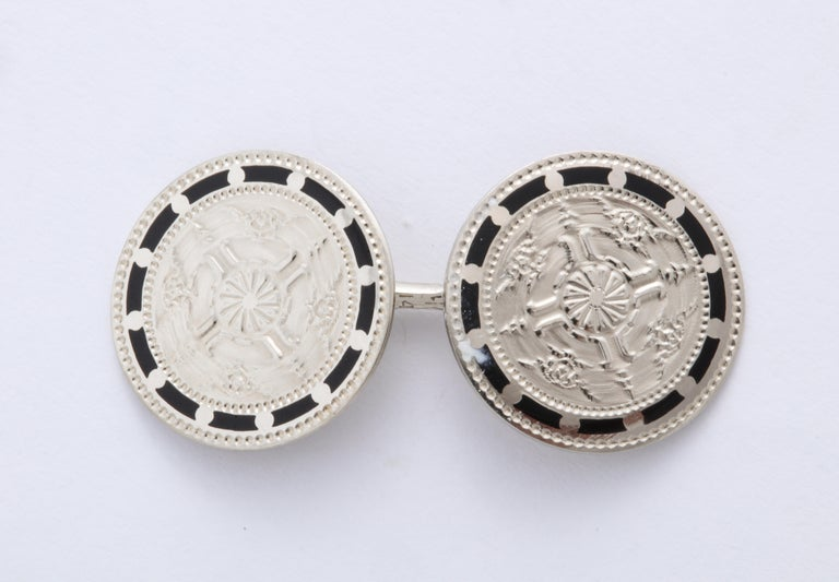 American Art Deco Silver and Black Enamel Cufflinks For Sale 3