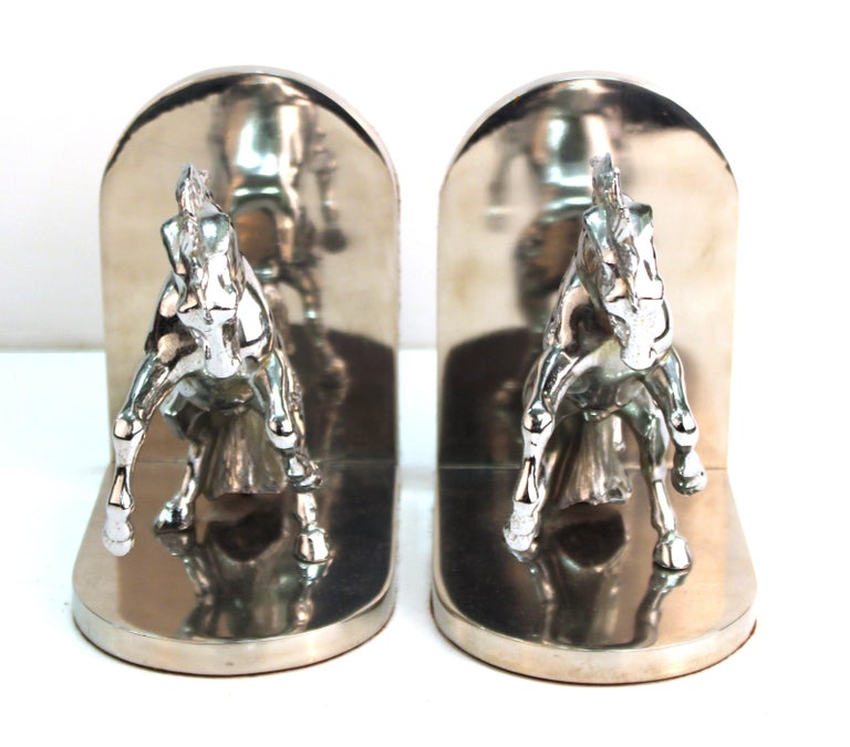 Mid-20th Century American Art Deco Silvered Bronze Horse Bookends Stamped 'White' For Sale