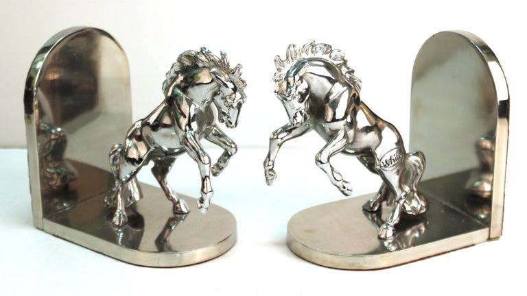 American Art Deco Silvered Bronze Horse Bookends Stamped 'White' For Sale 1