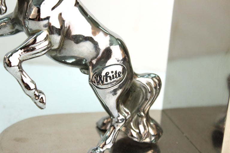 American Art Deco Silvered Bronze Horse Bookends Stamped 'White' For Sale 2