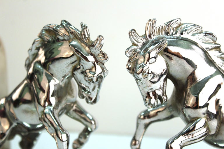 American Art Deco Silvered Bronze Horse Bookends Stamped 'White' For Sale 3