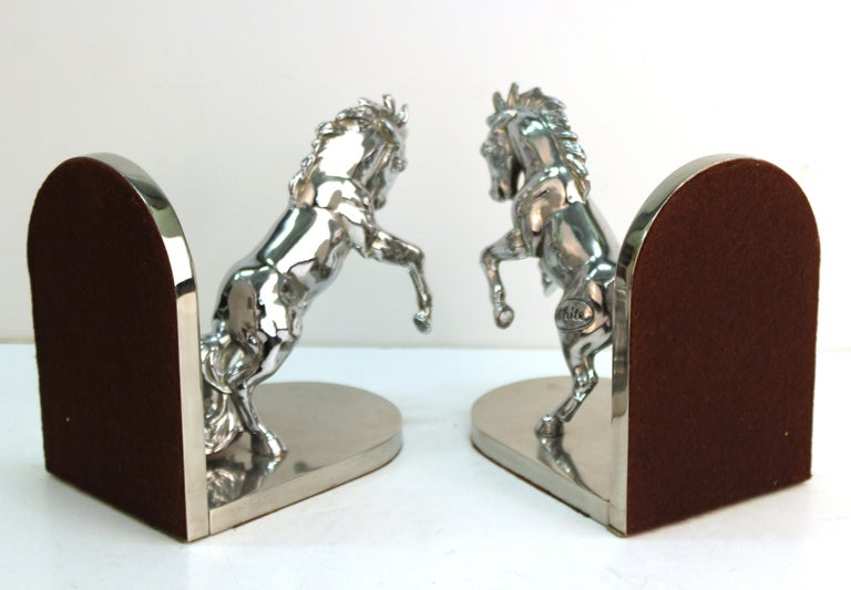 American Art Deco Silvered Bronze Horse Bookends Stamped 'White' For Sale 4