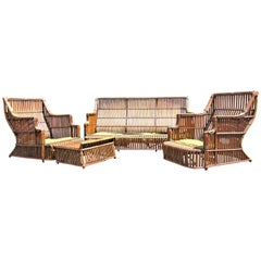 American Art Deco Split Reed Furniture Set