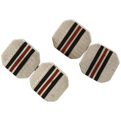 American Art Deco Sterling Silver and Black and Red Guilloche Enamel Cufflinks