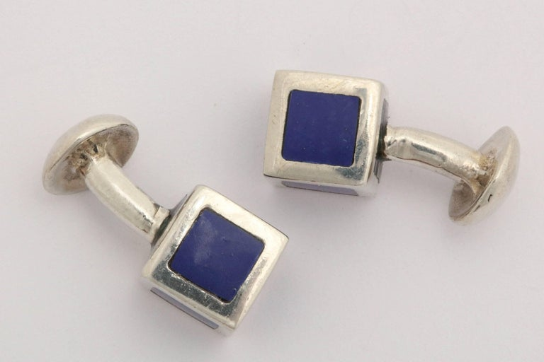 American Art Deco Sterling Silver and Blue Guilloche Enamel Cufflinks In Excellent Condition For Sale In New York, NY