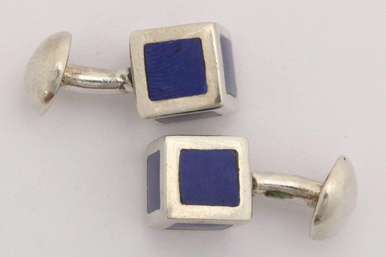 Men's American Art Deco Sterling Silver and Blue Guilloche Enamel Cufflinks For Sale