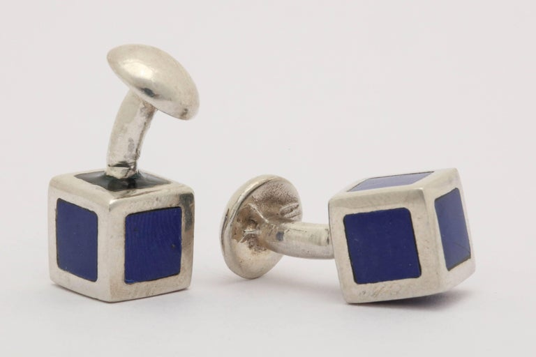 American Art Deco Sterling Silver and Blue Guilloche Enamel Cufflinks For Sale 1