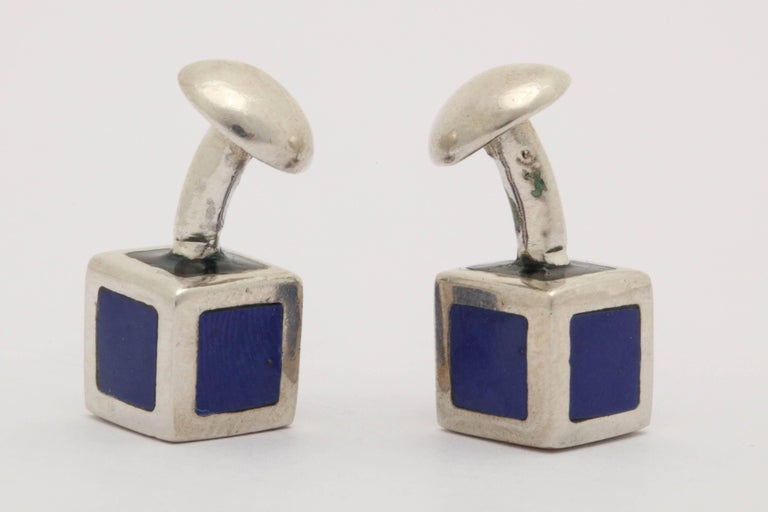 American Art Deco Sterling Silver and Blue Guilloche Enamel Cufflinks For Sale 2