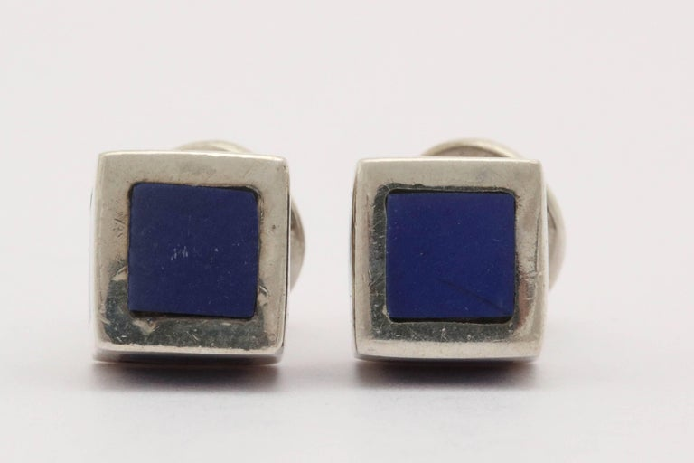 American Art Deco Sterling Silver and Blue Guilloche Enamel Cufflinks For Sale 3