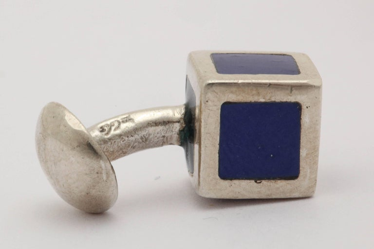 American Art Deco Sterling Silver and Blue Guilloche Enamel Cufflinks For Sale 4