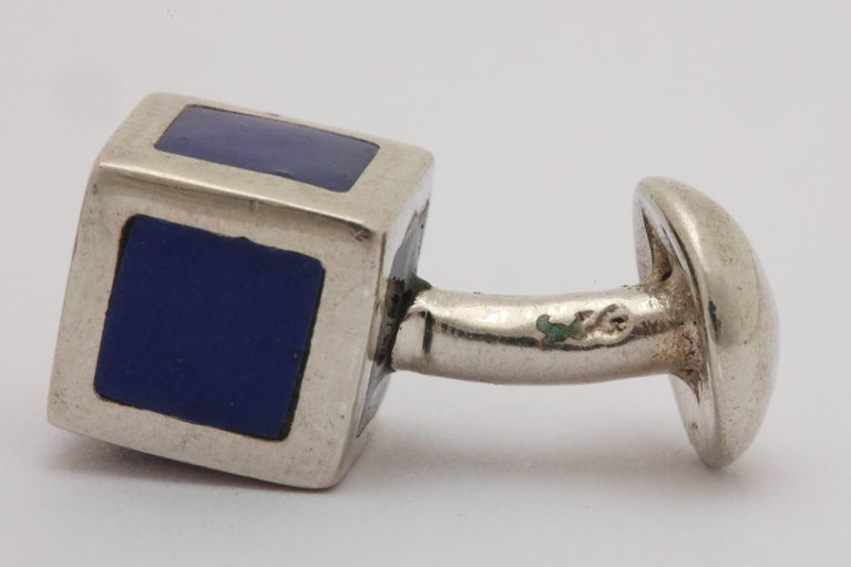 American Art Deco Sterling Silver and Blue Guilloche Enamel Cufflinks For Sale 5