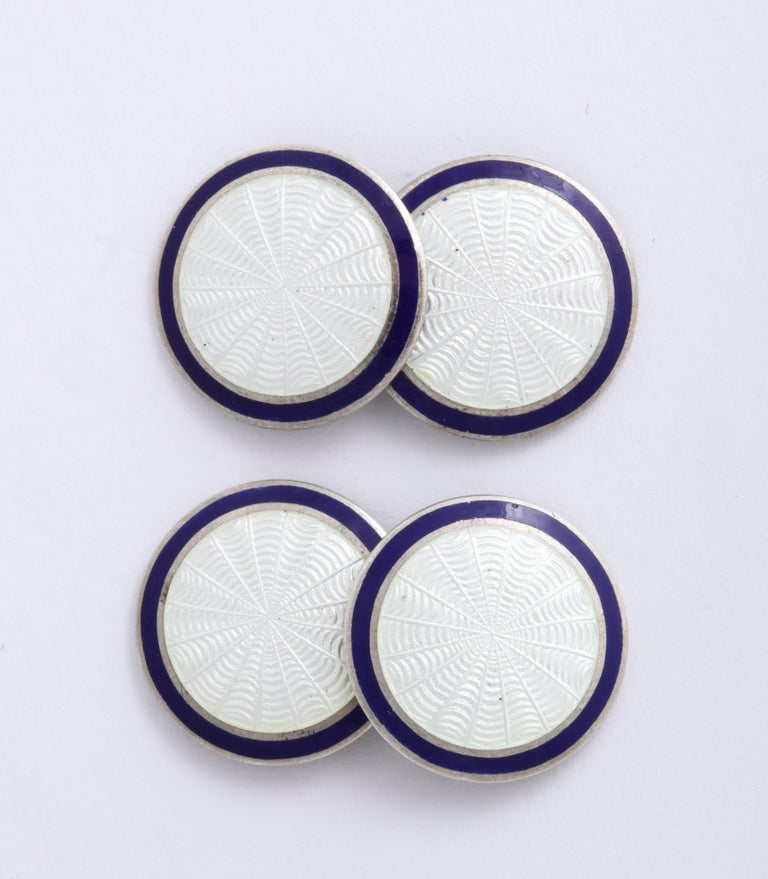 Men's American Art Deco Sterling Silver and Blue and White Guilloche Enamel Cufflinks For Sale