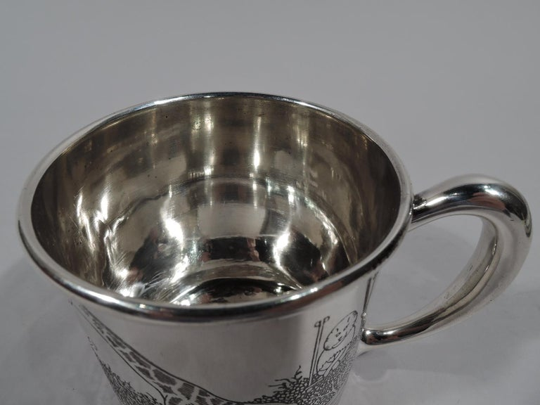 Mid-20th Century American Art Deco Sterling Silver Baby Cup with Circus Animals For Sale