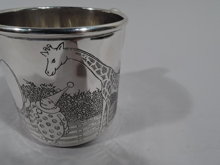 American Art Deco Sterling Silver Baby Cup with Circus Animals For Sale 1