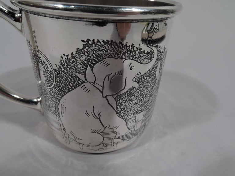 American Art Deco Sterling Silver Baby Cup with Circus Animals For Sale 2