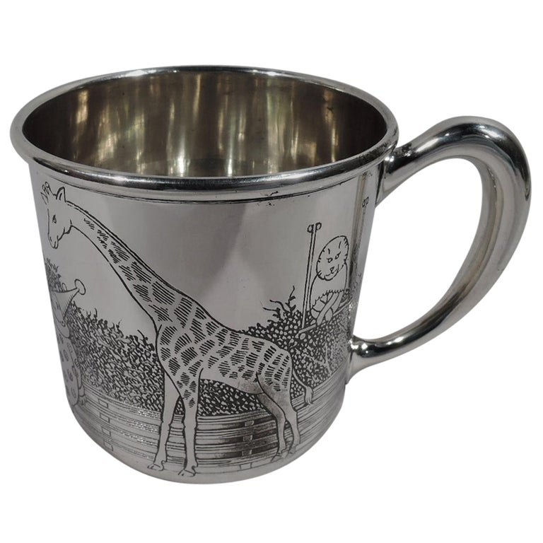 American Art Deco Sterling Silver Baby Cup with Circus Animals For Sale