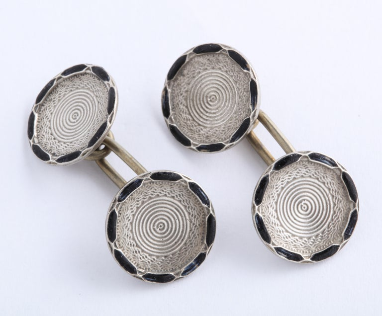 American Art Deco Sterling Silver and Black Guilloche Enamel Cufflinks In Excellent Condition For Sale In New York, NY