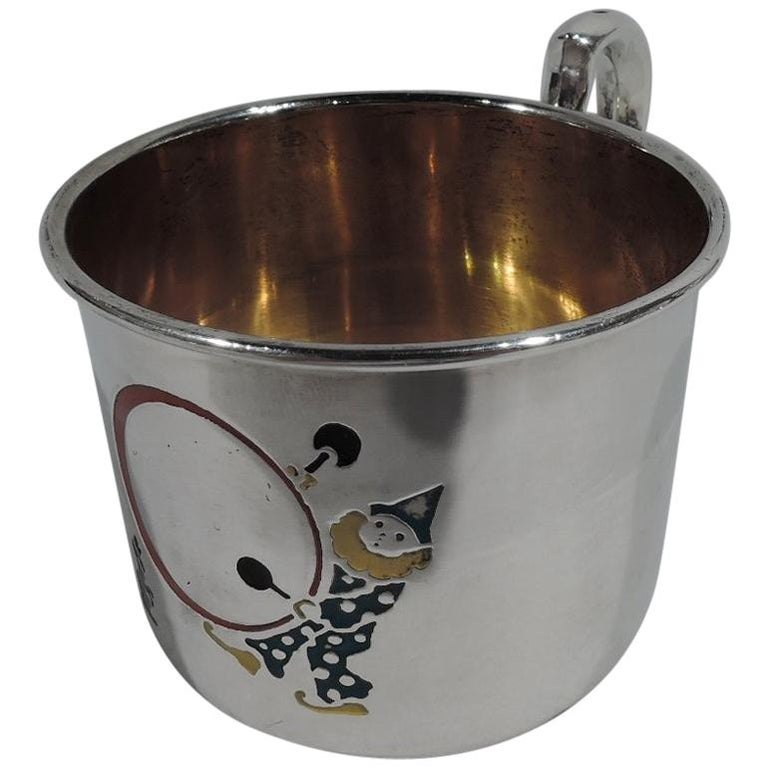 American Art Deco Sterling Silver and Enamel Drumming Clown Baby Cup For Sale