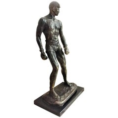 American Art Deco, Study of a Boxer, Bronze-Patinated Plaster, 1920s